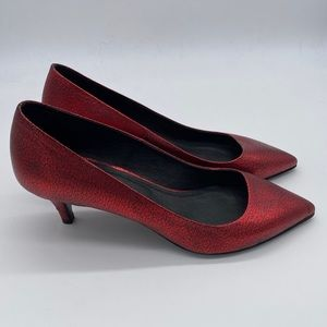 NEW Maje Red crackle Kitten heels 36
